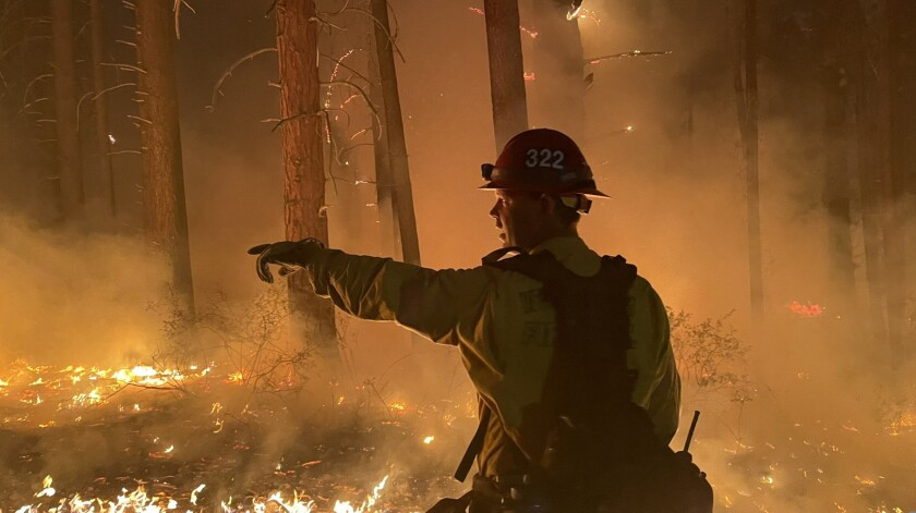 A team from the Ventura County Fire Department working the Windy fire in Tulare County.