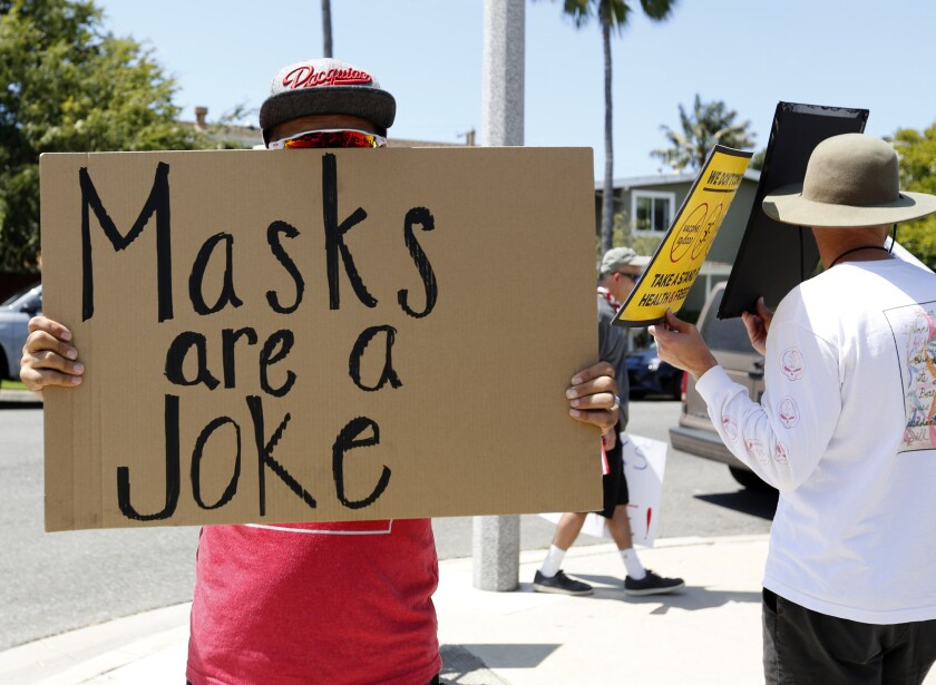 Anti-mask protester