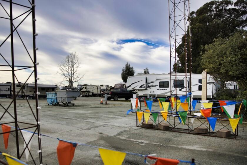 Recreational vehicles at the Santa Cruz County Fairgrounds.