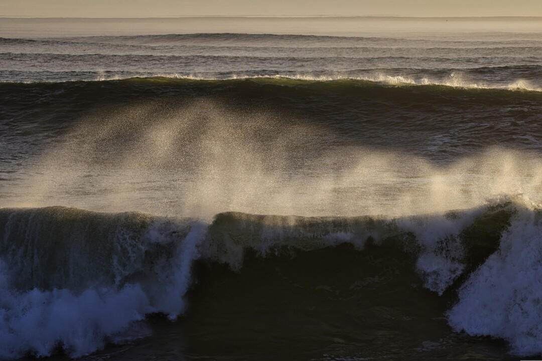 Powerful waves roll through Steamer Lane.