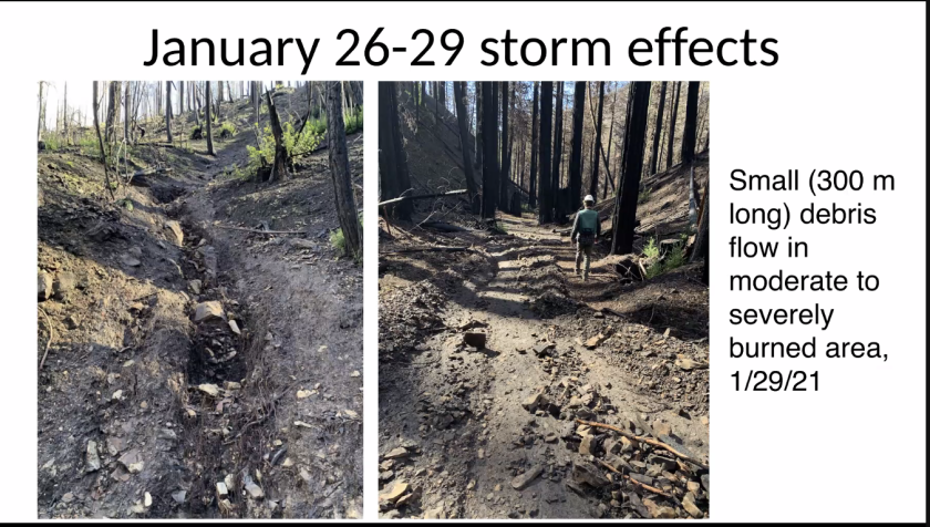 An image of a debris flow triggered by a January storm.