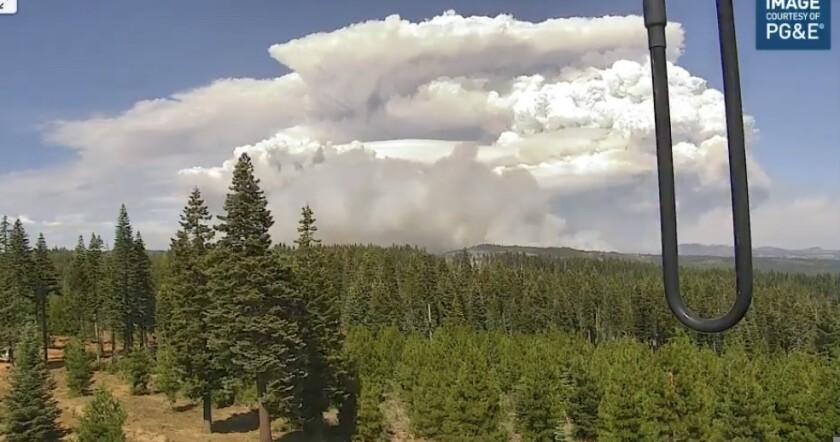 A view of the Dixie Fire from PG&E cameras on Monday.