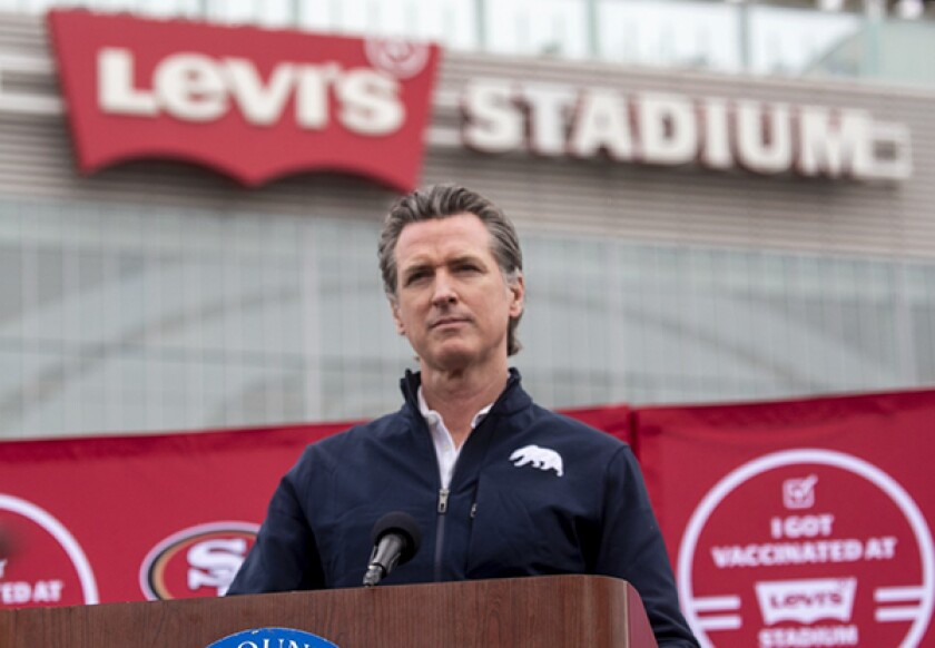 Gov. Gavin Newsom speaks at a press conference outside of Levi's Stadium
