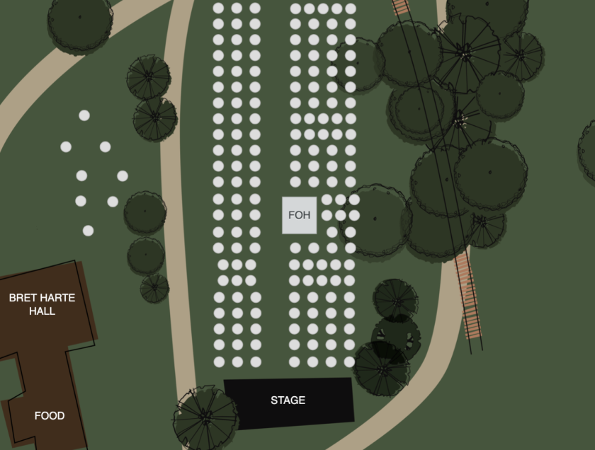 """A look at how """"pods"""" will be spread out for Felton Music Hall's series at Roaring Camp."""