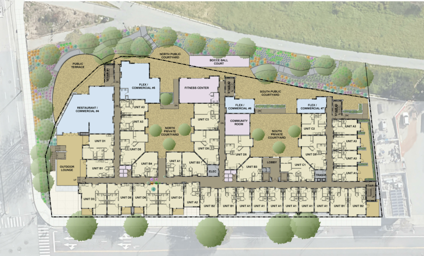A site rendering of the proposed Front Street Apartments.