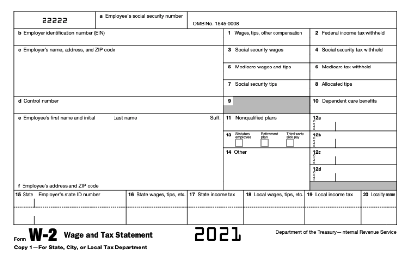 An IRS W-2 form.