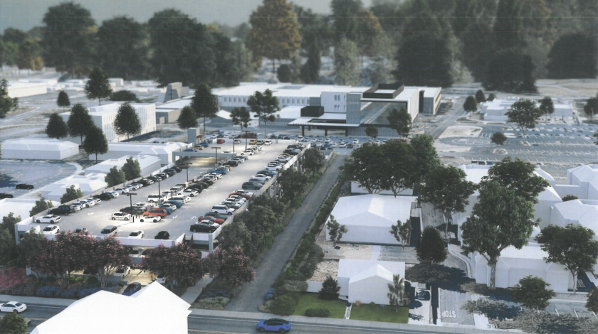 A rendering shows the planned parking garage at Dominican Hospital.