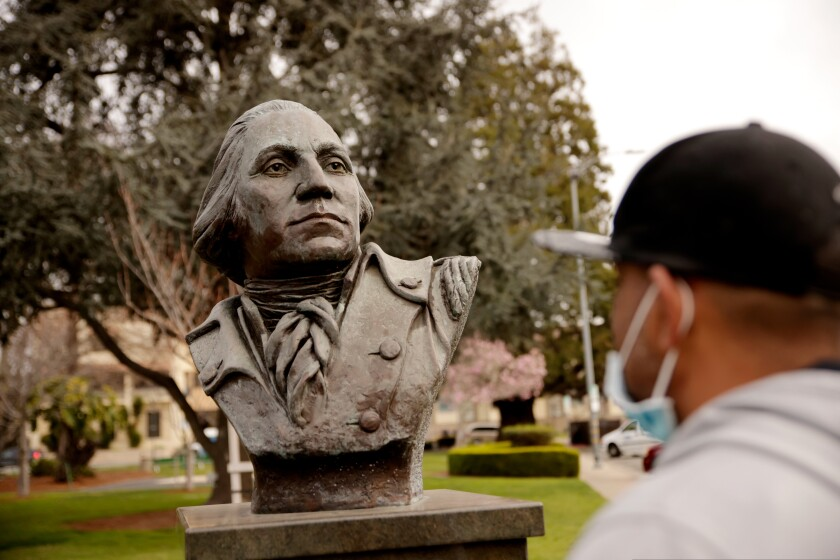 A bust of George Washington in the Watsonville City Plaza in February 2021.