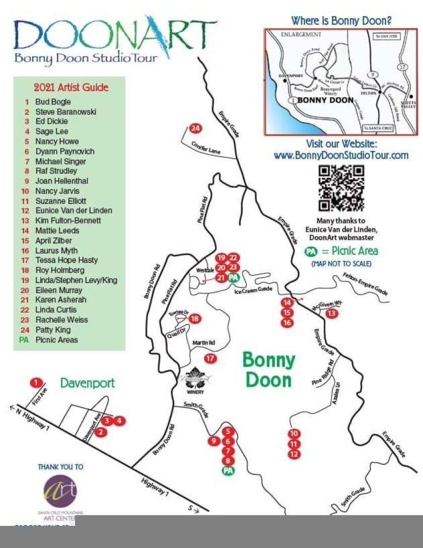A flyer for the DoonArt studio tour in Bonny Doon