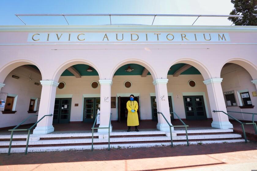 The COVID-19 testing center at the Civic Auditorium