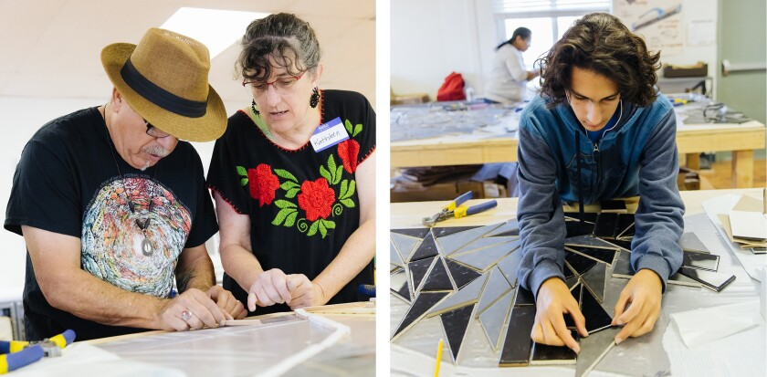 Kathleen Crocetti and artist Juan Fuentes assemble the mosaic