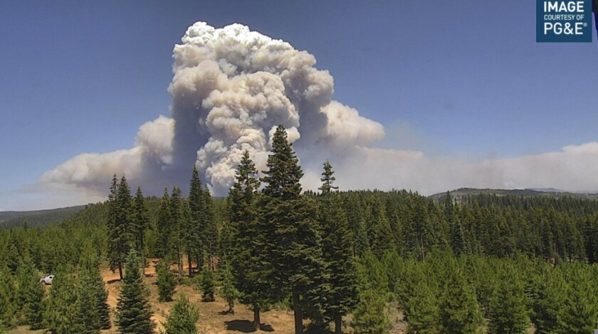 A view of the Dixie fire, burning in Butte and Plumas counties, from a PG&E camera.