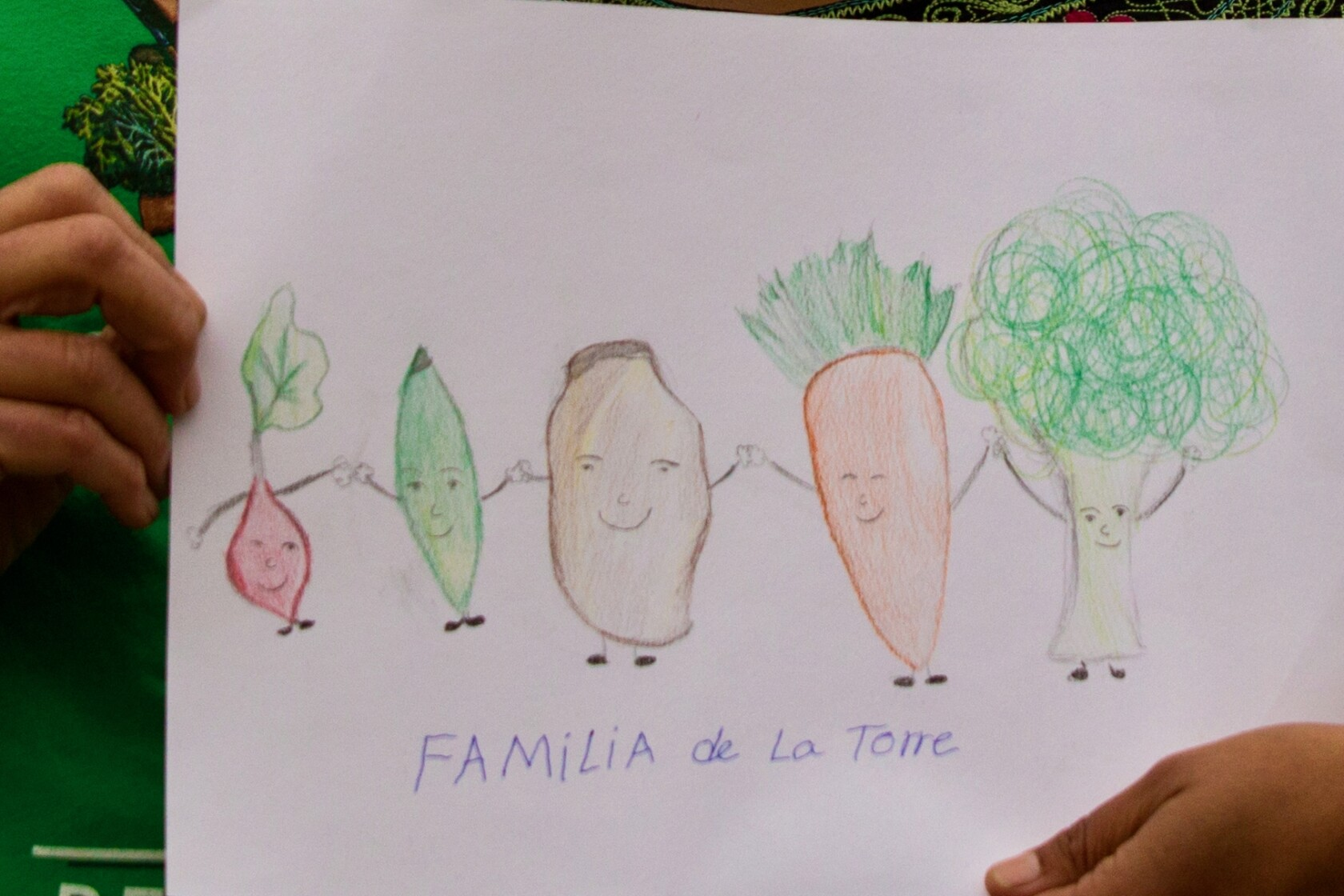 Family portraits drawn by children from the Esperanza Community Farms