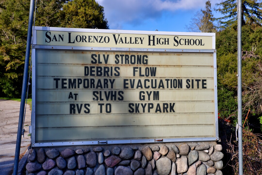 Temporary evacuation site at San Lorenzo Valley High School