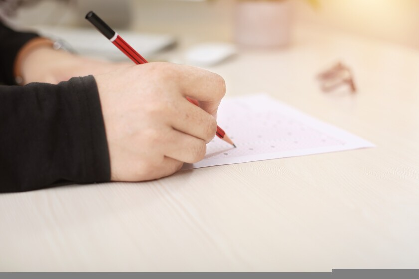 File image of a student taking a standardized test