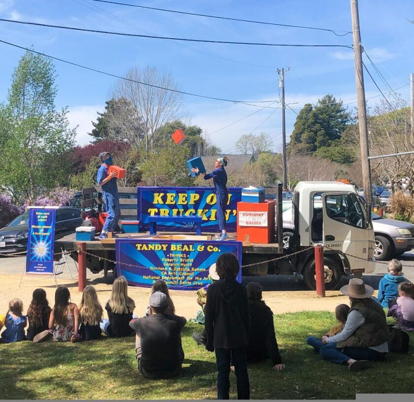 """The clowning and comedy duo Coventry & Kaluza were the first participants in the """"Keep on Truckin'"""" series in early April."""