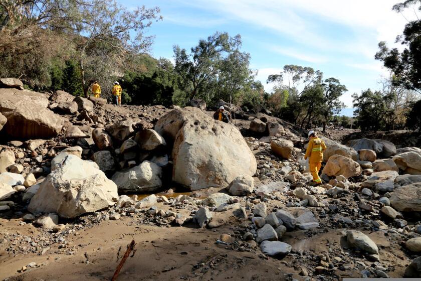 A debris flow Southern California's Montecito community in 2018.