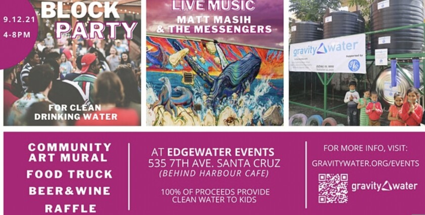 Flyer for the Santa Cruz Block Party for Clean Water