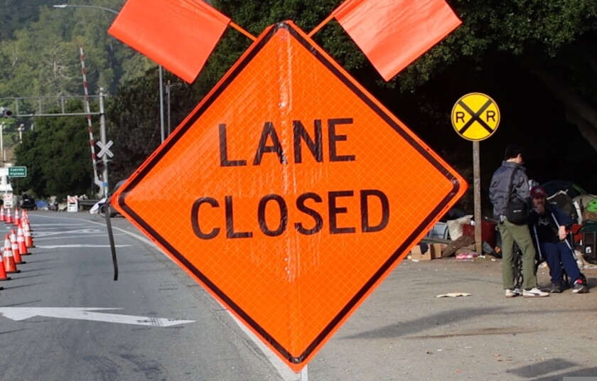 A lane closed sign