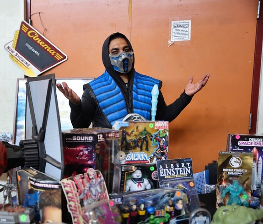 Luis Sanchez from Watsonville displays his collection at Nerdville.