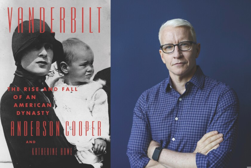 """TV personality Anderson Cooper and the cover of his book, """"Vanderbilt"""""""