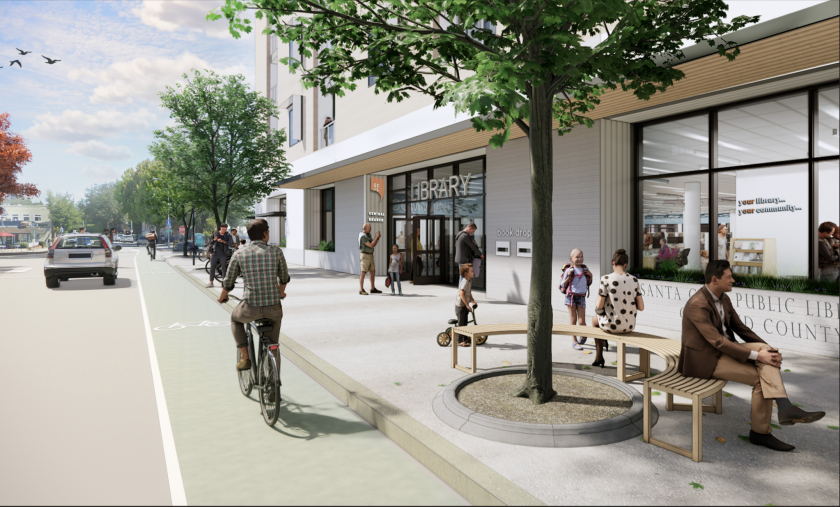 A sample rendering of what the new downtown Santa Cruz library could look like.
