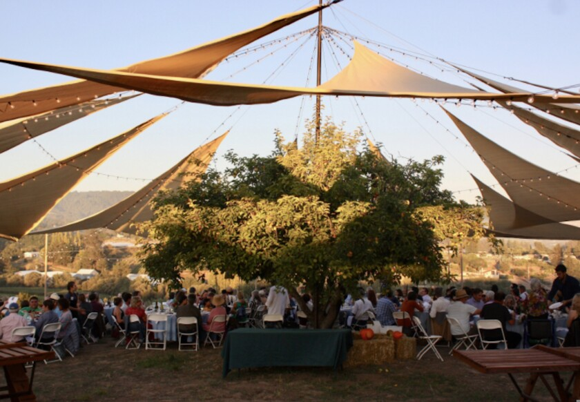 A photo from a past benefit dinner at Farm Discovery