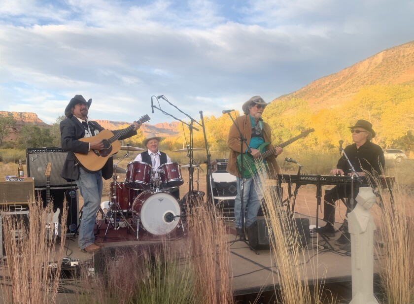 Jim Lewin (left) and Edge of the West played live at Zion National Park in Utah.