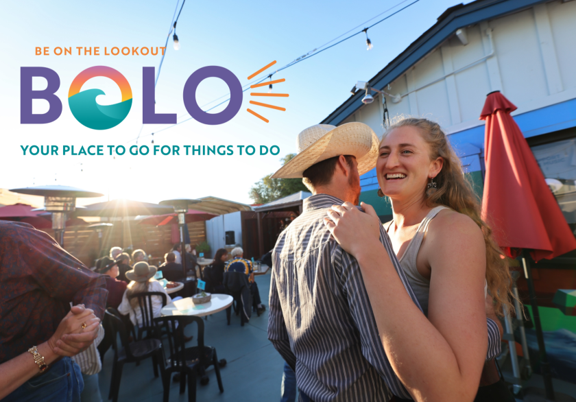 BOLO events calendar logo over an image of a couple dancing