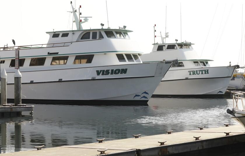 The Vision and Truth Boats of Truth Aquatics in the Santa Barbara Harbor