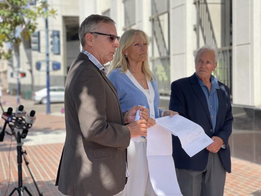 Marc Klass, Anne Hyde and Steve Herr speak to protestors at the recall Gov. Gavin Newsom press event on August 11, 2021.