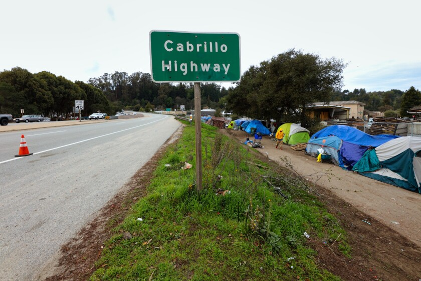 A homeless encampment along the side of Cabrillo Highway in Santa Cruz. The area must be cleared out by April.
