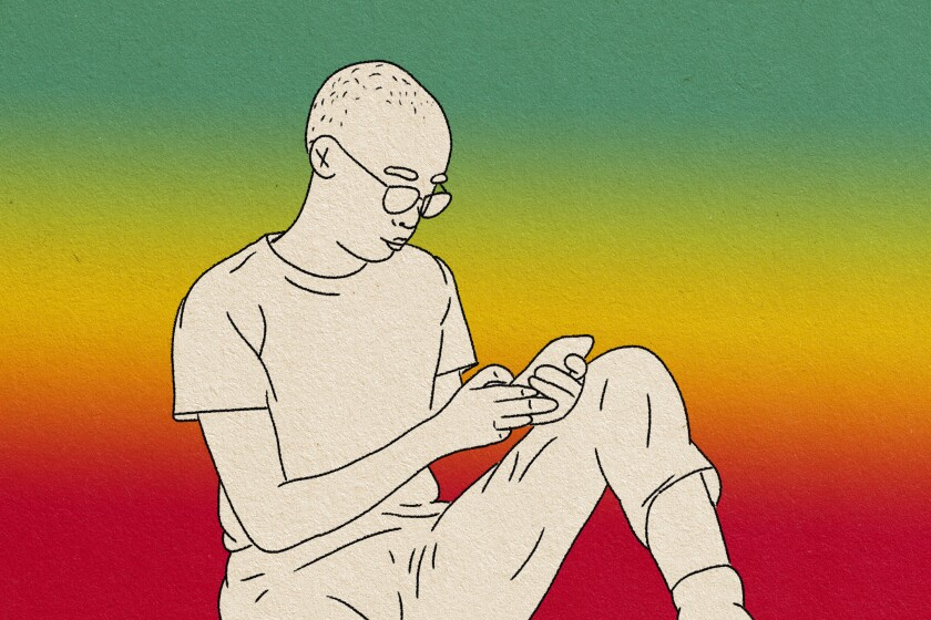 illustration of person relaxed typing on their phone