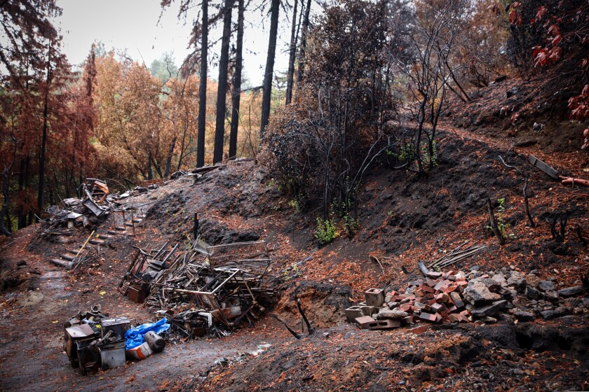 Properties destroyed by the fire near Bill English's house in Boulder Creek.