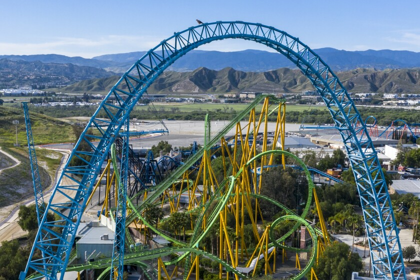Aerial view of Six Flags Magic Mountain and the Dive Devil ride.