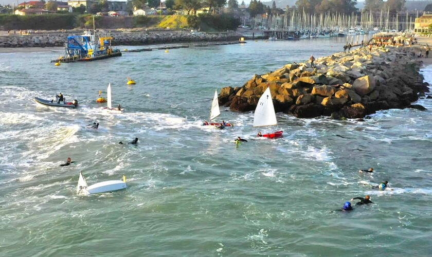 The scene on Sunday at the mouth of Santa Cruz Harbor.
