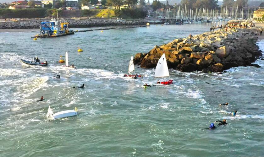 The scene on Sunday at the mouth of Santa Cruz Harbor.