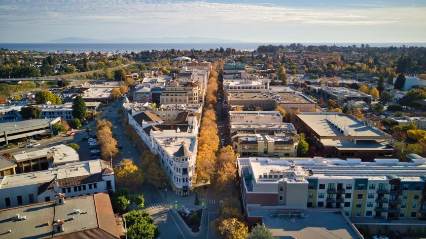 An aerial view of downtown Santa Cruz