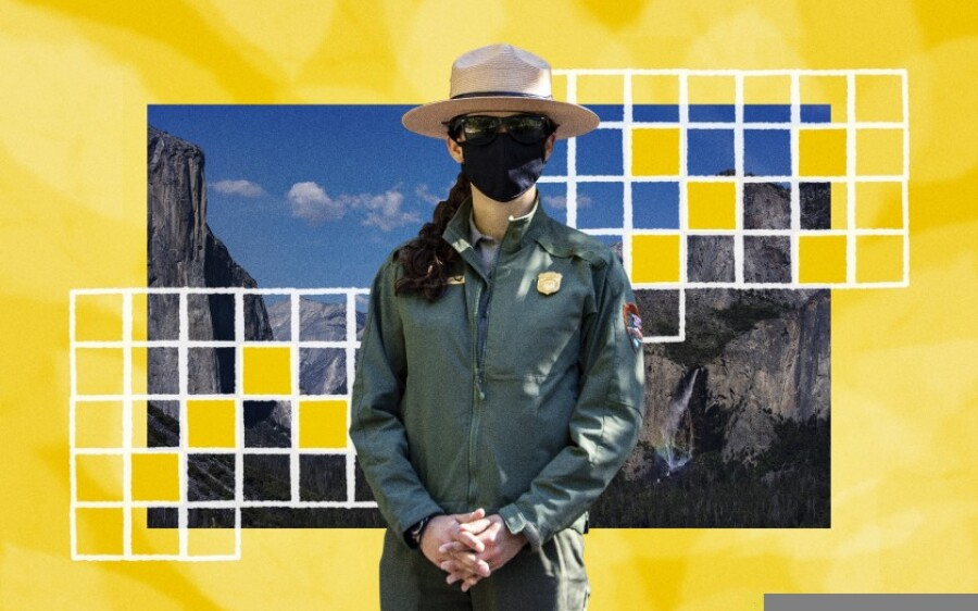 Illustration of a park ranger and Yosemite.