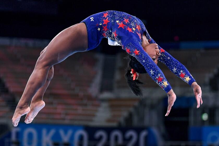 USA's Simone Biles competes on the beam