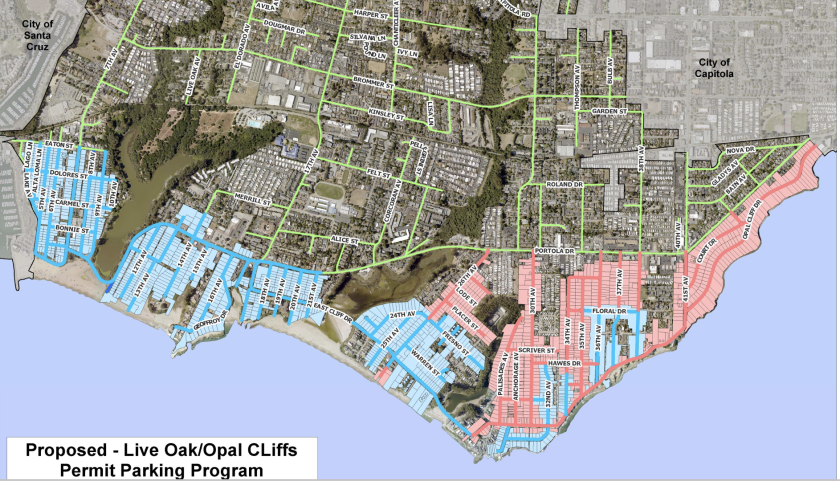 A map shows the proposed expansion areas (red) for the Live Oak Parking Program.