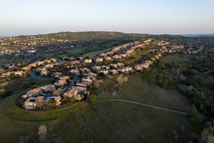 Overhead view of homes on a ridge