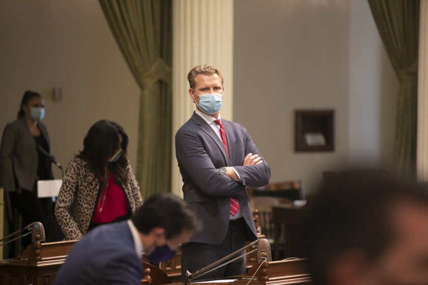 Assemblymember Chad Mayes wears a mask on the floor on the last day of the 2019-20 session, Aug. 31, 2020.