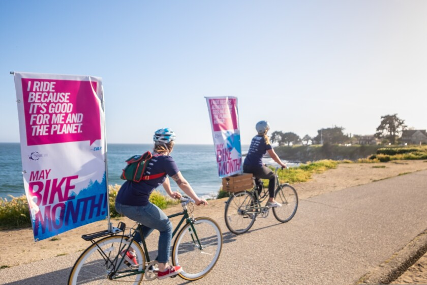 People participate in a bike-to-work program as part of Santa Cruz County Bike Month in 2019.