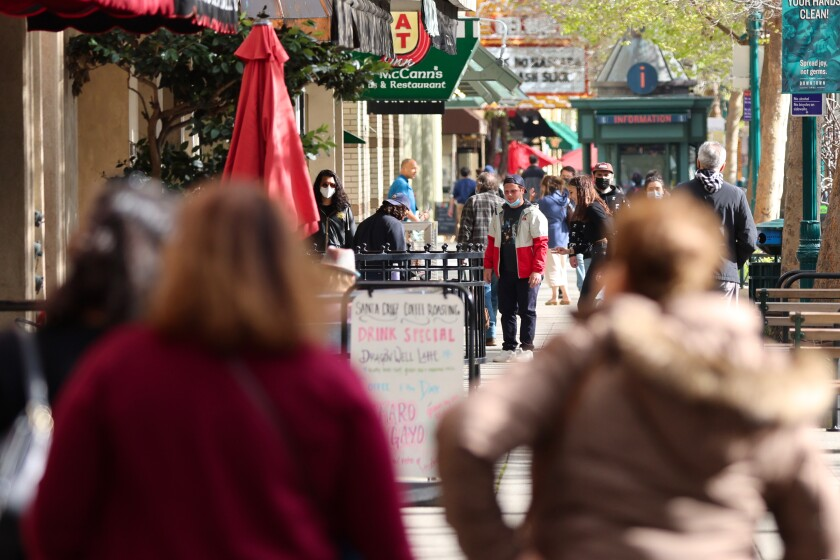 Shoppers have been returning in increasing numbers to Downtown Santa Cruz.