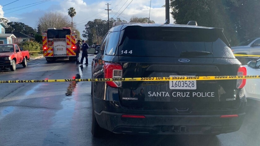 Police at the scene of a shooting on Hagemann Ave in Santa Cruz on Friday afternoon.