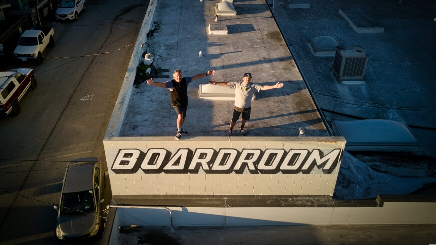 Neil Pearlberg and 'TC' atop The Boardroom, where three live shows helped enliven the neighborhood last summer.