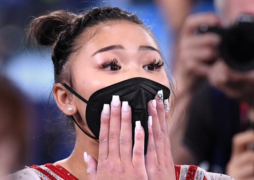 USA's Sunisa Lee reacts to winning the gold medal in the women's gymnastic's individual all-around final.