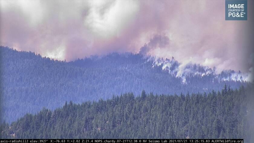 The Dixie fire burns over Plumas County.