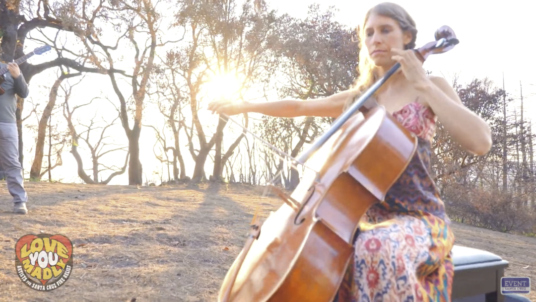 Aria DiSalvio plays the cello on a piece of her family's property that was consumed in the fires.